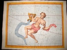 Flamsteed Atlas Coelestis 1781 LG Folio H/Col Celestial Map. Aquarius. Astrology